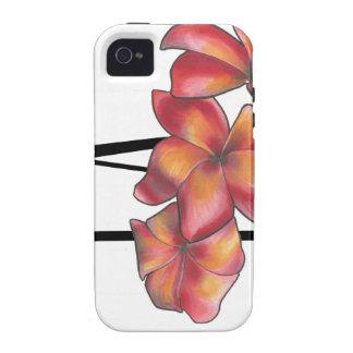 Flor del Plumeria de la puesta del sol iPhone 4 Carcasas