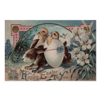Flor del polluelo del huevo del conejito de pascua posters