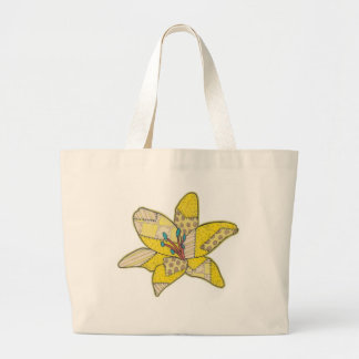 Flor del remiendo bolsa tela grande