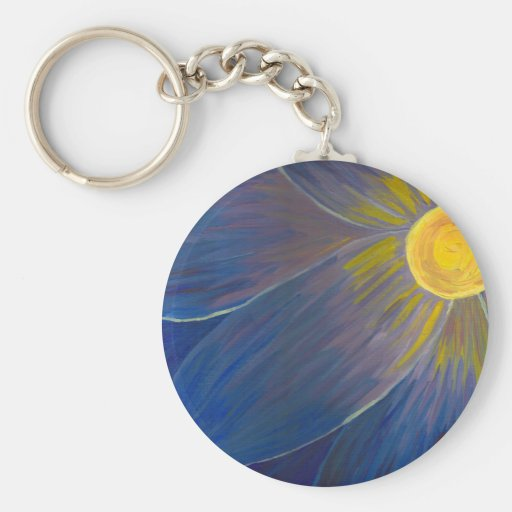 Flor del resplandor solar llavero redondo tipo pin