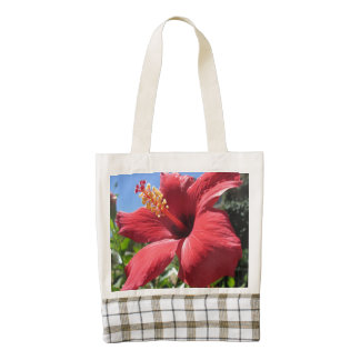 Flor del rojo del hibisco bolsa tote zazzle HEART