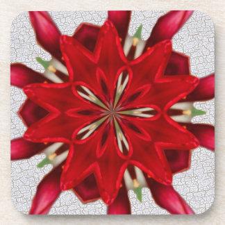 flor del rojo del starburst posavasos de bebida