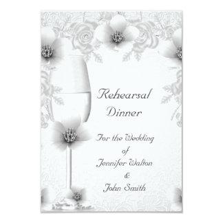 """Flor del rosa blanco de la plata del boda de la invitación 3.5"""" x 5"""""""