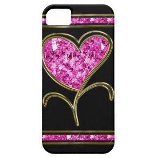 Flor del rosa del diamante y del corazón del oro iPhone 5 carcasa