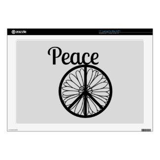 Flor del signo de la paz calcomanía para portátil