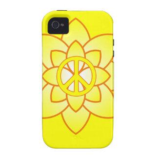 Flor del símbolo de paz - amarillo Case-Mate iPhone 4 carcasas