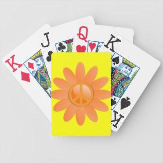 Flor del símbolo de paz - naranja de Cantelope Baraja Cartas De Poker
