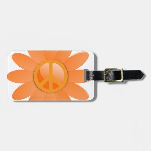 Flor del símbolo de paz - naranja de Cantelope Etiqueta De Maleta