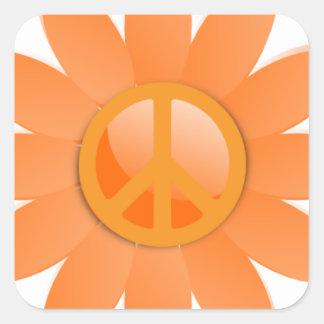 Flor del símbolo de paz - naranja de Cantelope Pegatina Cuadradas Personalizada