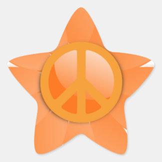 Flor del símbolo de paz - naranja de Cantelope Calcomanía Forma De Estrella