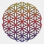 Flor del símbolo sagrado de la geometría de la etiqueta redonda