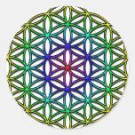 Flor del símbolo sagrado de la geometría de la pegatinas redondas