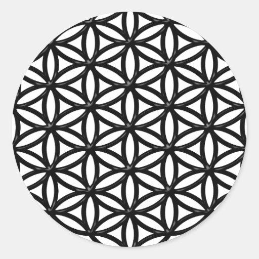 Flor del símbolo sagrado de la geometría de la pegatina redonda