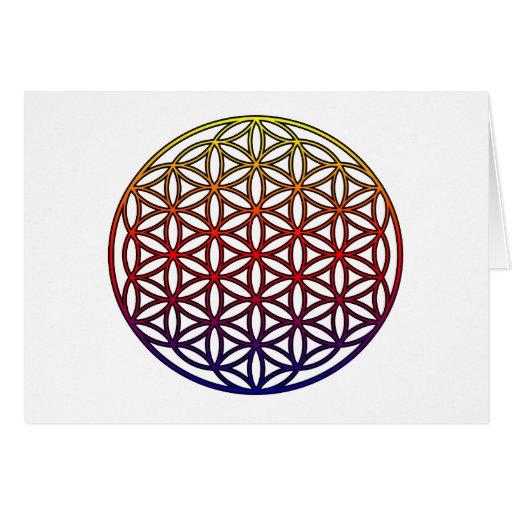 Flor del símbolo sagrado de la geometría de la tarjeta de felicitación
