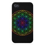 Flor del símbolo sagrado de la geometría de la vid iPhone 4 protector