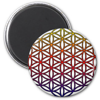 Flor del símbolo sagrado de la geometría de la vid imán redondo 5 cm