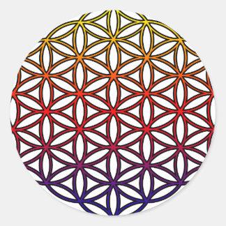 Flor del símbolo sagrado de la geometría de la vid etiqueta