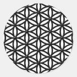Flor del símbolo sagrado de la geometría de la vid pegatina redonda