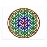 Flor del símbolo sagrado de la geometría de la vid postal
