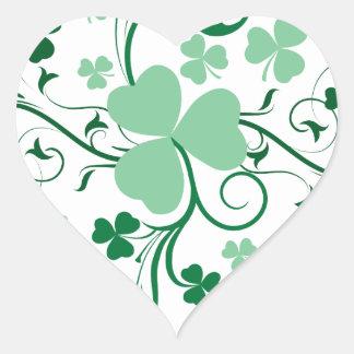 Flor del trébol pegatina corazon