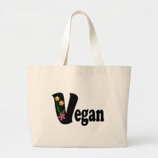 Flor del vegano bolsa lienzo