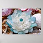 Flor del vidrio del mar blanco impresiones