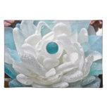 Flor del vidrio del mar blanco mantel individual