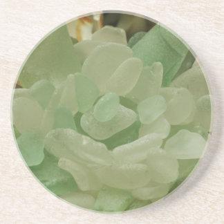 Flor del vidrio del mar verde posavasos personalizados