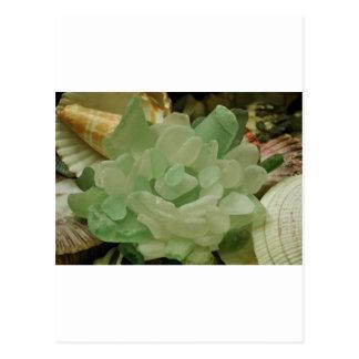 Flor del vidrio del mar verde tarjeta postal