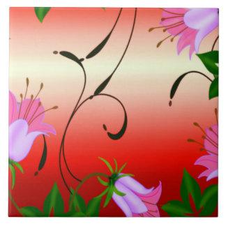 Flor del vintage azulejo cuadrado grande
