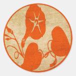 Flor del vintage etiqueta redonda