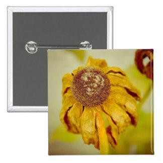 Flor del vintage pin cuadrada 5 cm