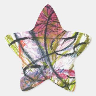 Flor del Watercolour Pegatina En Forma De Estrella