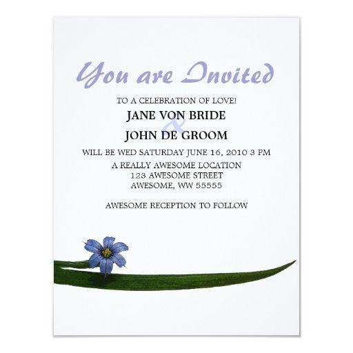 """Flor delicada de la hierba de ojos azules invitación 4.25"""" x 5.5"""""""