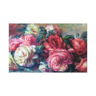 Flor desechada de los rosas que pinta la bella impresión en lienzo