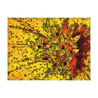 Flor digital negra amarillo-naranja del arte de la impresiones en lienzo estiradas