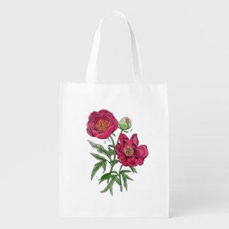 Flor el | rosada botánica del Peony Bolsa Para La Compra