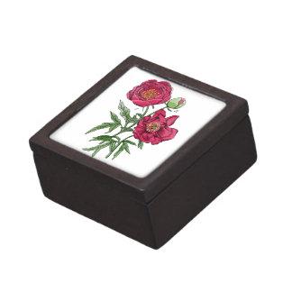 Flor el | rosada botánica del Peony Caja De Joyas De Calidad