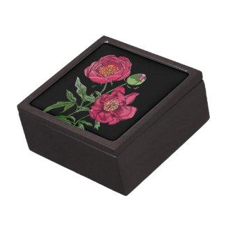 Flor el | rosada botánica del Peony Cajas De Recuerdo De Calidad