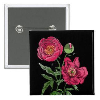 Flor el | rosada botánica del Peony Pin Cuadrado