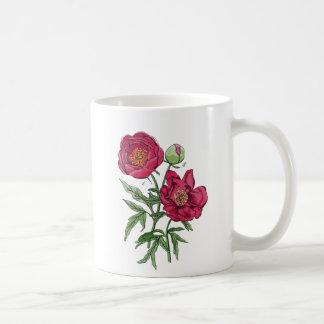 Flor el | rosada botánica del Peony Taza