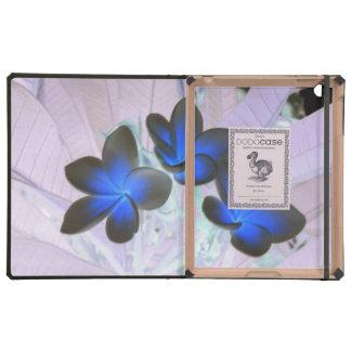 Flor elegante azul iPad protectores