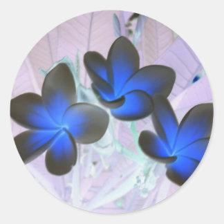 Flor elegante azul pegatina redonda