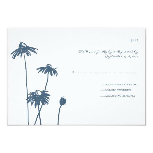 Flor elegante azul y blanca que casa RSVP Comunicado Personal