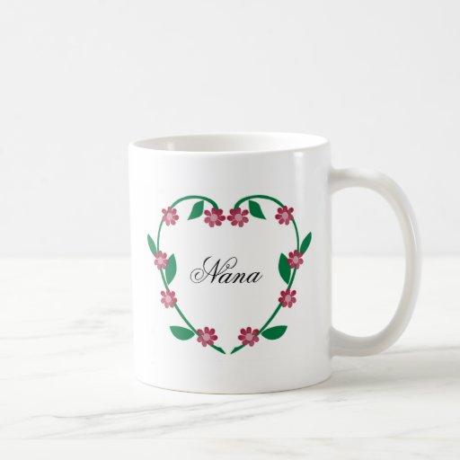 Flor elegante Corazón-Nana Tazas