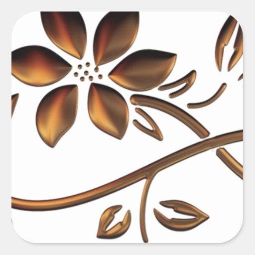Flor elegante de Brown Pegatina Cuadrada