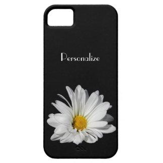 Flor elegante de la margarita blanca con nombre iPhone 5 carcasa