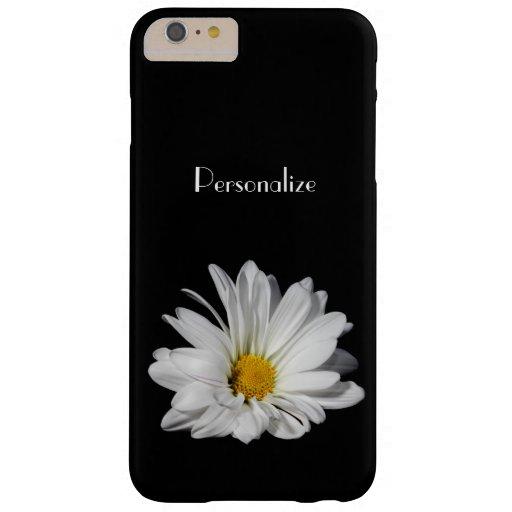 Flor elegante de la margarita blanca con nombre funda de iPhone 6 plus barely there
