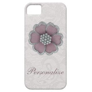 Flor elegante del diamante en el cordón blanco de  iPhone 5 Case-Mate cárcasas