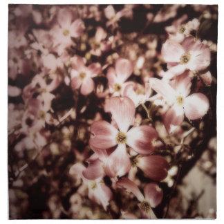 Flor elegante del Dogwood del rosa del vintage Servilletas